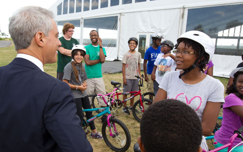 The photograph above was provided to Chicago media by the Mayor's Press Office, City of Chicago, on August 1 2013. It came complete with a caption and credit. The photo was supposed to be credited to Brook Collins, who works for Rahm Emanuel and follows him around every day as part of his