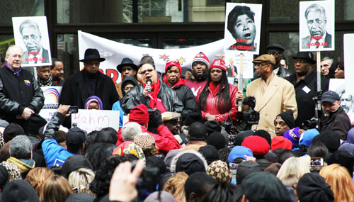 Chicago Teachers Union President Karen Lewis, surrounded by community leaders including Operation PUSH leader Jesse Jackson, SEIu leader Tom Balanoff, Alderman Ricardo Munoz, and Congressman Bobby Rush addressed the rally on March 27, 2013 against the school closings being pushed by Mayor Rahm Emanuel. Substance photo by David Vance.