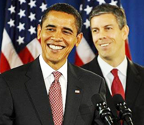 President Barack Obama and his pick for U.S. Secretary of Education Arne Duncan in their younger days. By the time the NEA voted its