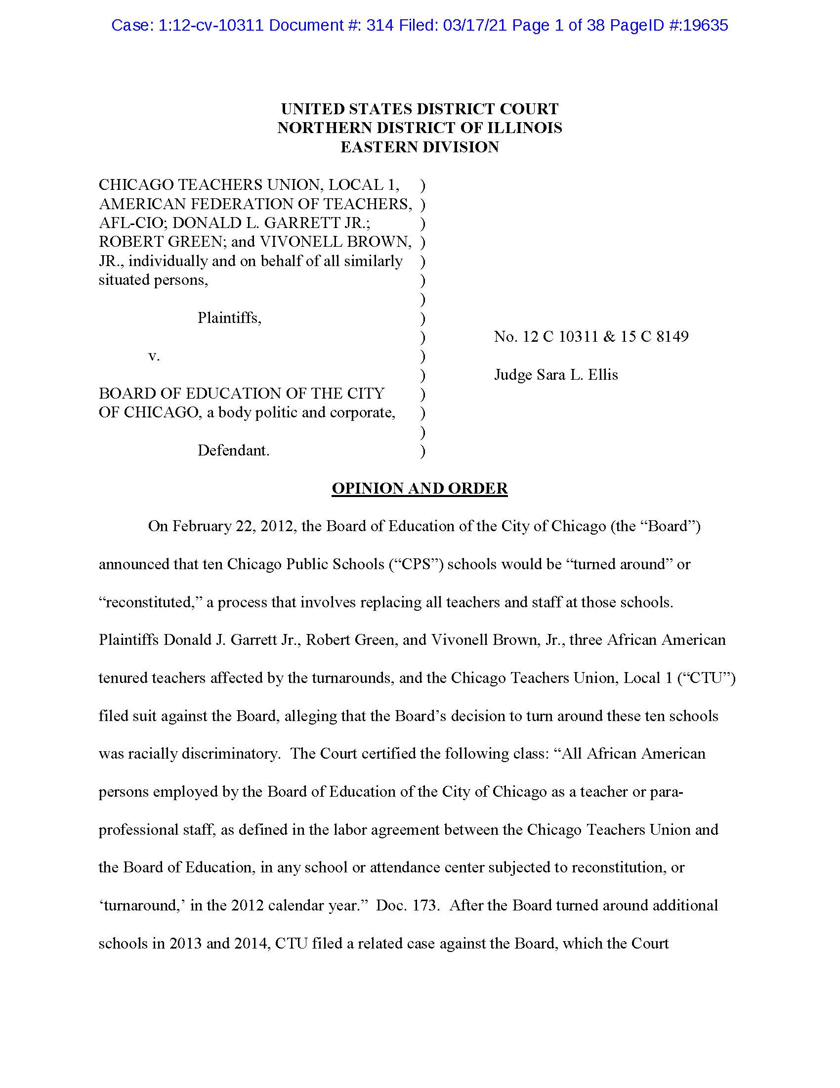 2012 civil rights lawsuit filed by CTU against CPS over 'turnarounds' going to trial