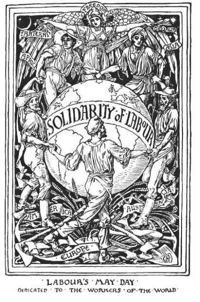 First published in 1894 in Justice, Walter Crane's The Workers' Maypole declares 'the cause of labour is the hope of the world'. Born in Liverpool in 1845, Walter Crane was a prolific illustrator associated with the Arts and Crafts movement, and his creations are some of the most enduring visual imaginings of the British socialist movement. The Workers' Maypole calls for 'solidarity' and 'humanity', 'employers' liability', 'eight hours' and 'no starving children'. In the centre of the scene Crane's beflowered May queen welcomes the toilers of the world and carries their banners high. Powerful yet whimsical, The Workers Maypole brings together English folk tradition and the demands of the international labour movement.