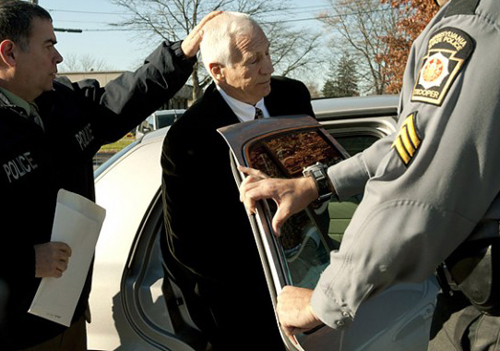 Penn State's Jerry Sandusky following a court appearance on November 10, 2011, in Pennsylvania.